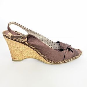 Seychelles Brown Slingback Wedges Size 9.5